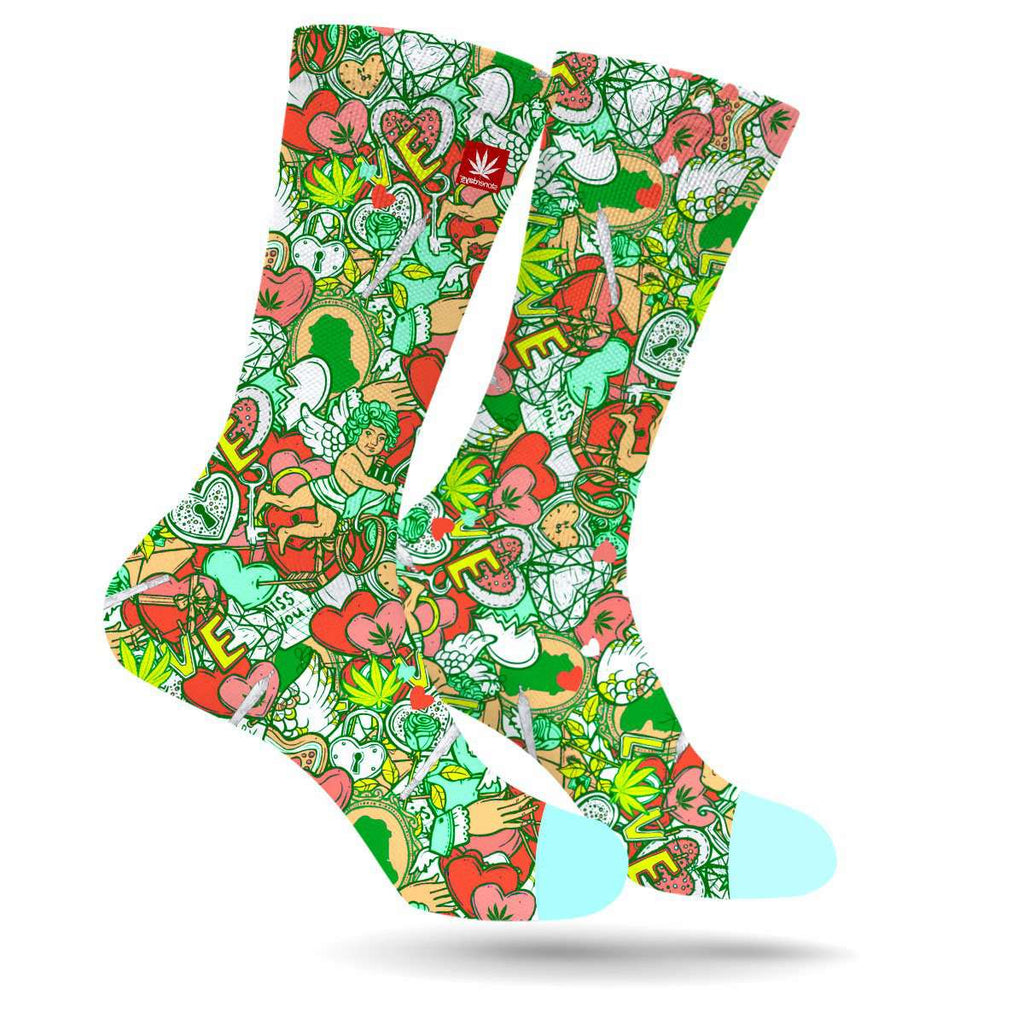 Cupids Kushed Arrow Pattern Weed Socks