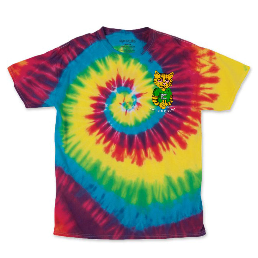 Don't Stress Meowt Rainbow Tie Dye Tee