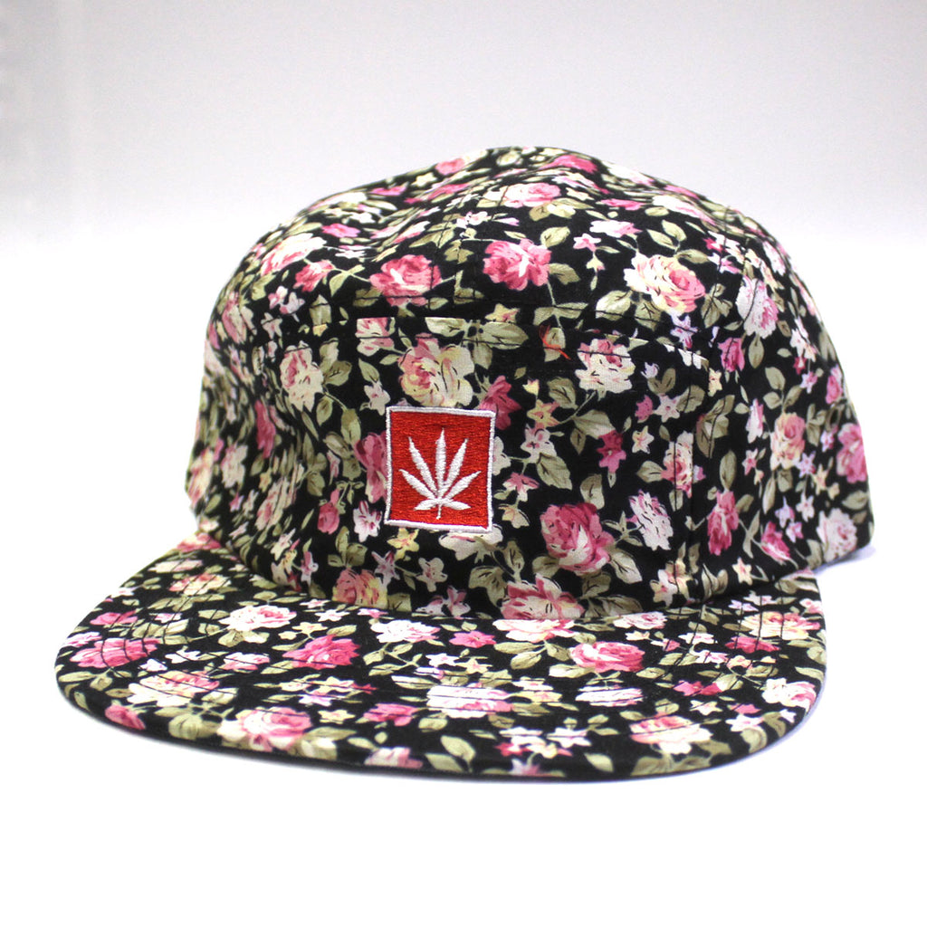 CANNABIS CAP FLORAL PATTERN BLACK