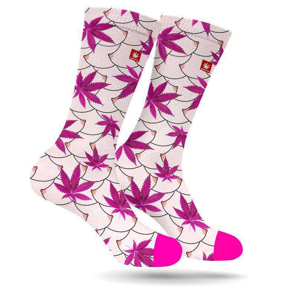FREE THE NIPPLE MARIJUANA SOCKS BREAST CANCER AWARENESS