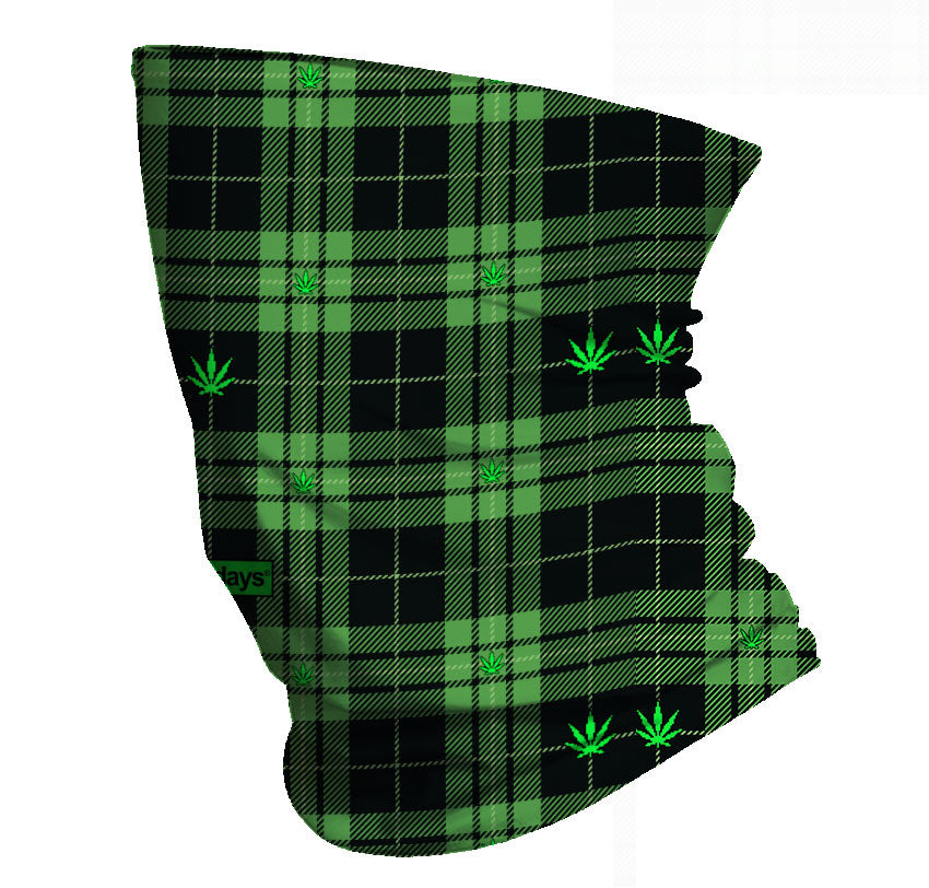 Green Plaid Cannabis Leaves Gaiter