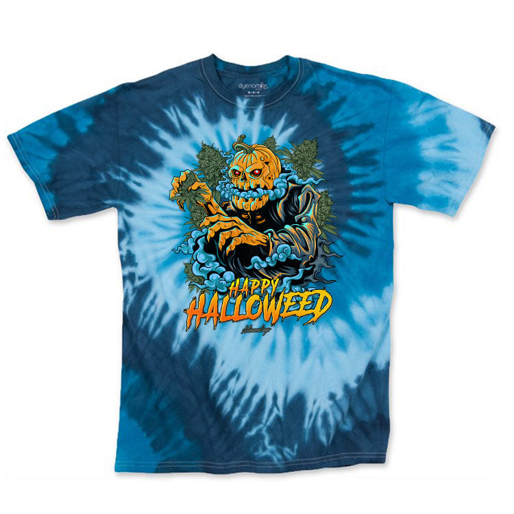 Happy Halloweed Blue Tie Dye Tee