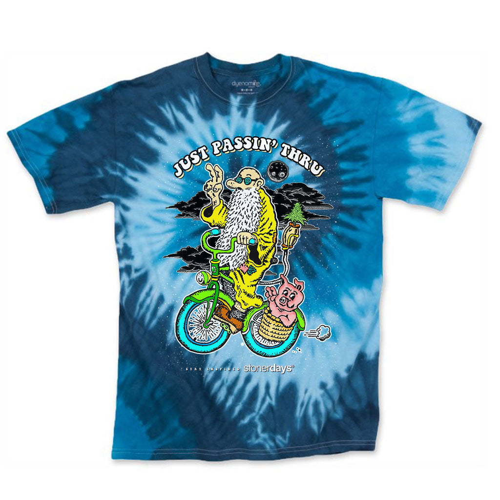 Just Passing Through Blue Tie Dye Tee