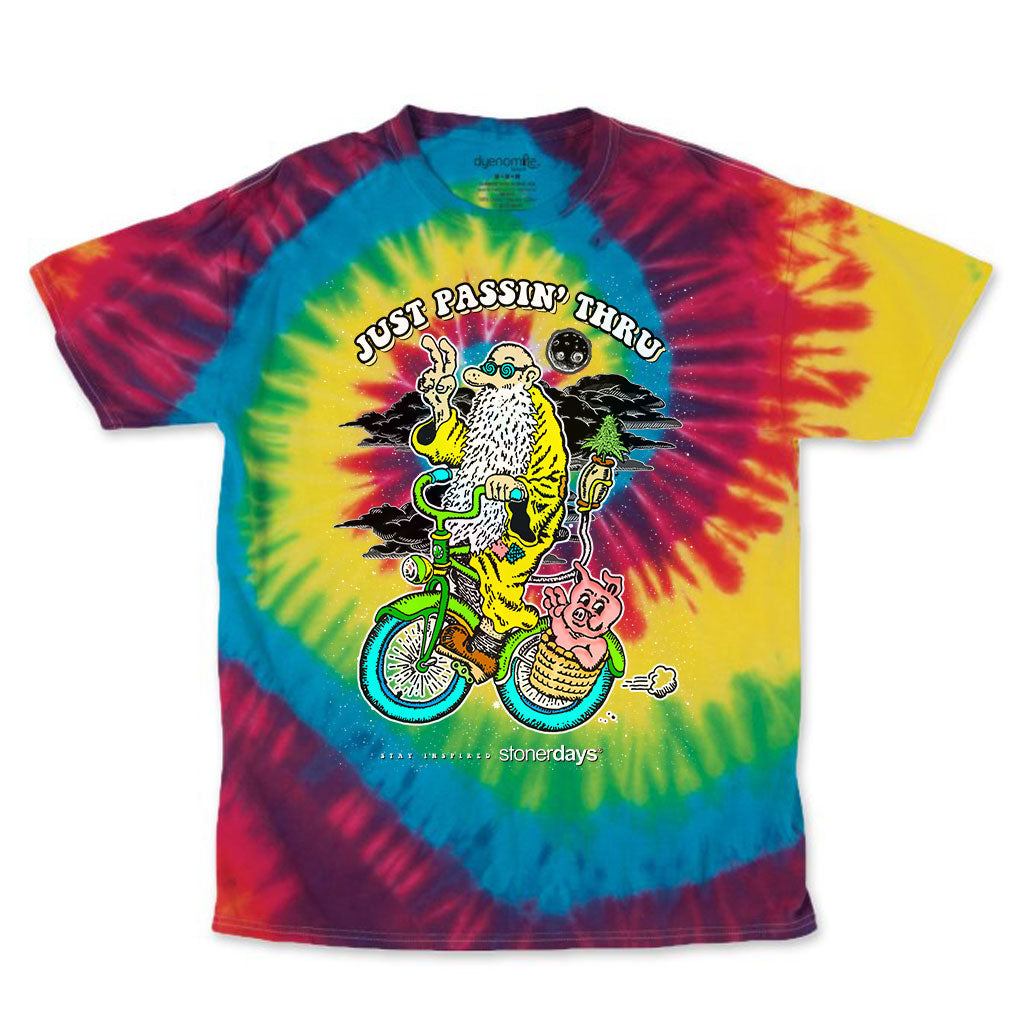 Just Passing Through Rainbow Tie Dye Tee