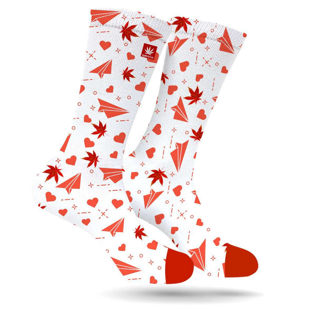 Love Letter Paper Planes Cannabis Socks