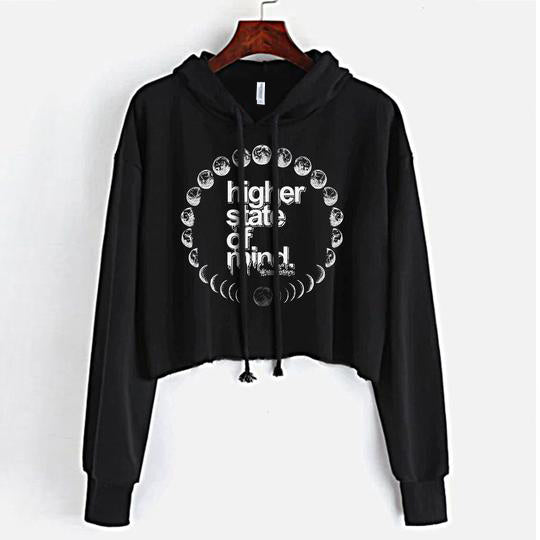 Moon Phases Crop Top Hoodie
