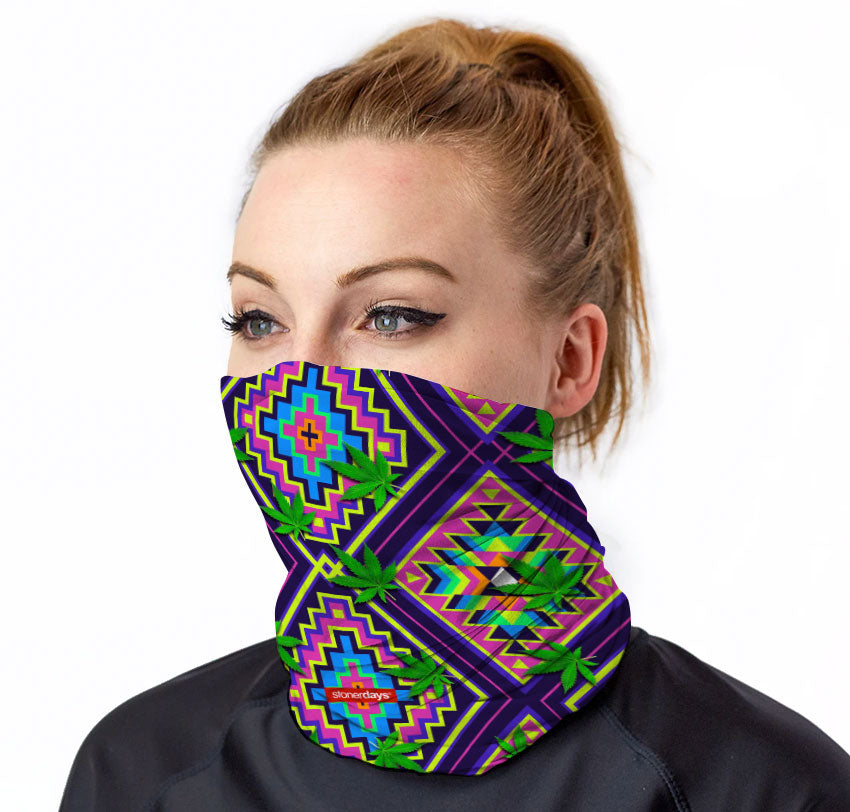 Neon Aztec Leaves Neck Gaiter