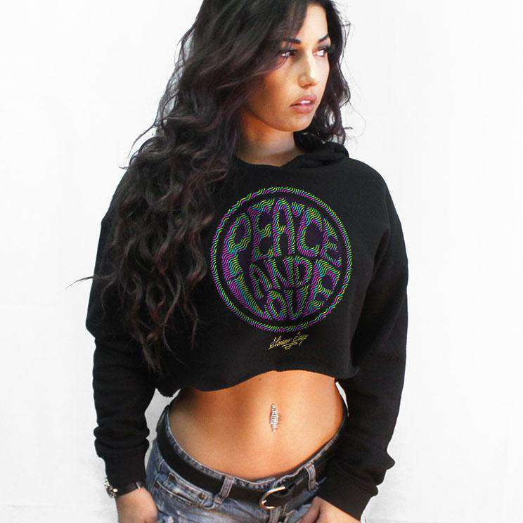 Peace and Love Crop Top Hoodie