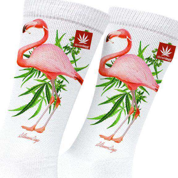 PINK FLAMINGO MARIJUANA SOCKS