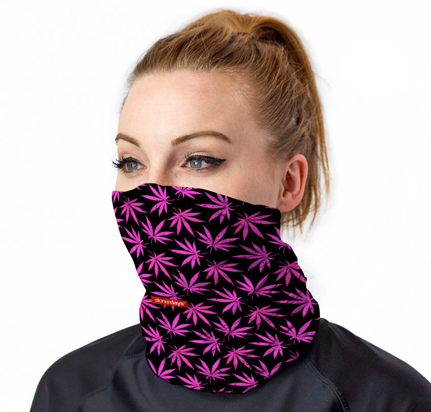 PInk Support Weed Leaf Pattern Neck Gaiter