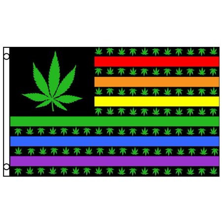 Rainbow Cannabis Flag 3x5 Feet