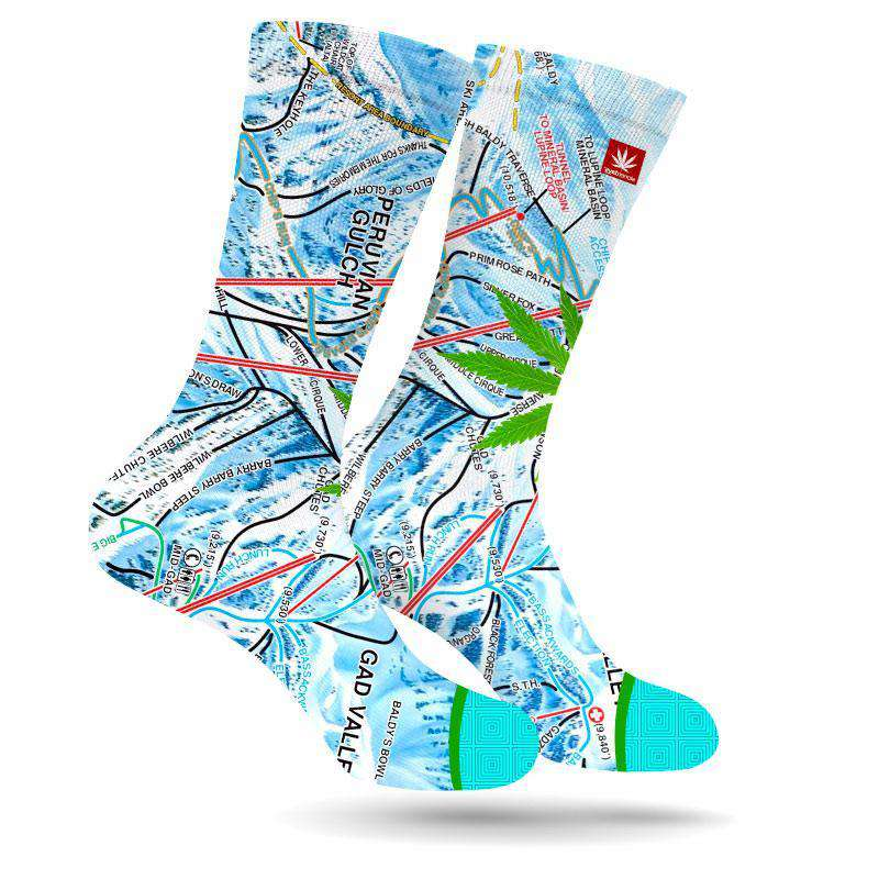 SNOWBIRD MARIJUANA LEAF SOCKS