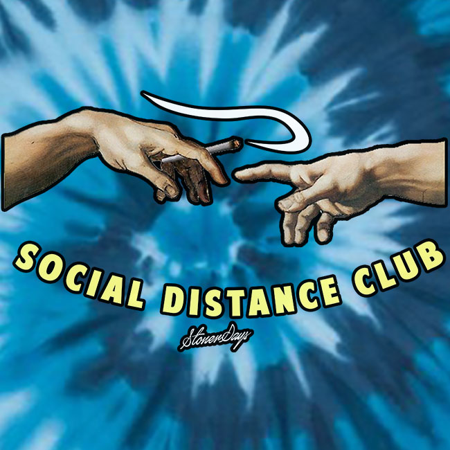 Social Distance Club Blue Tie Dye Tee