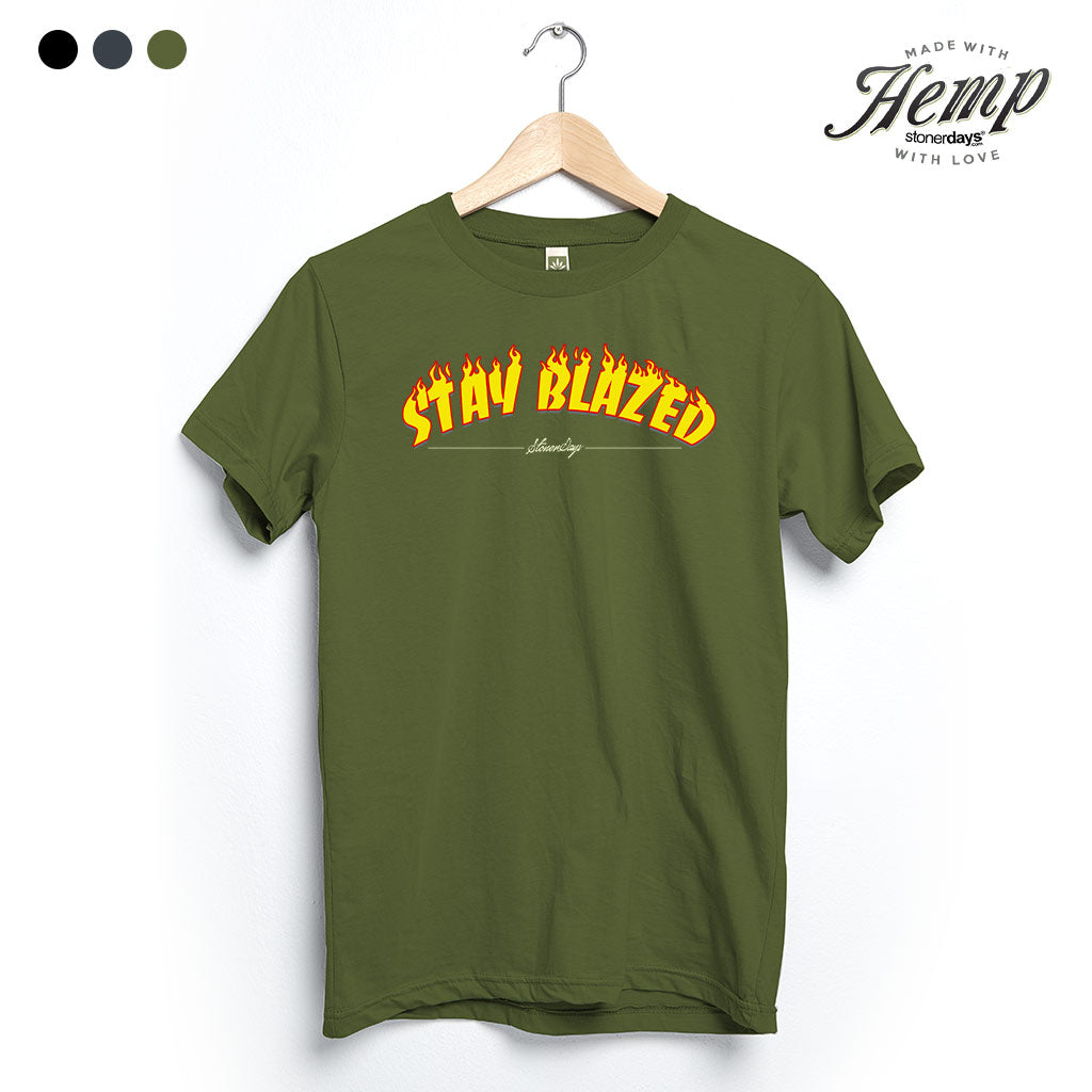 Stay Blazed Flames Hemp Tee