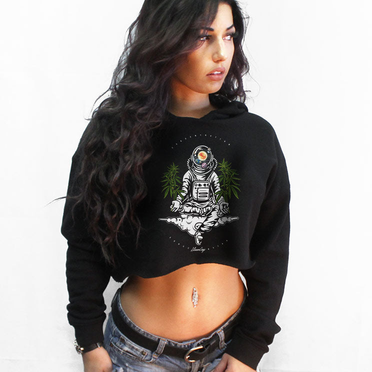 Space Concentration Crop Top Hoodie