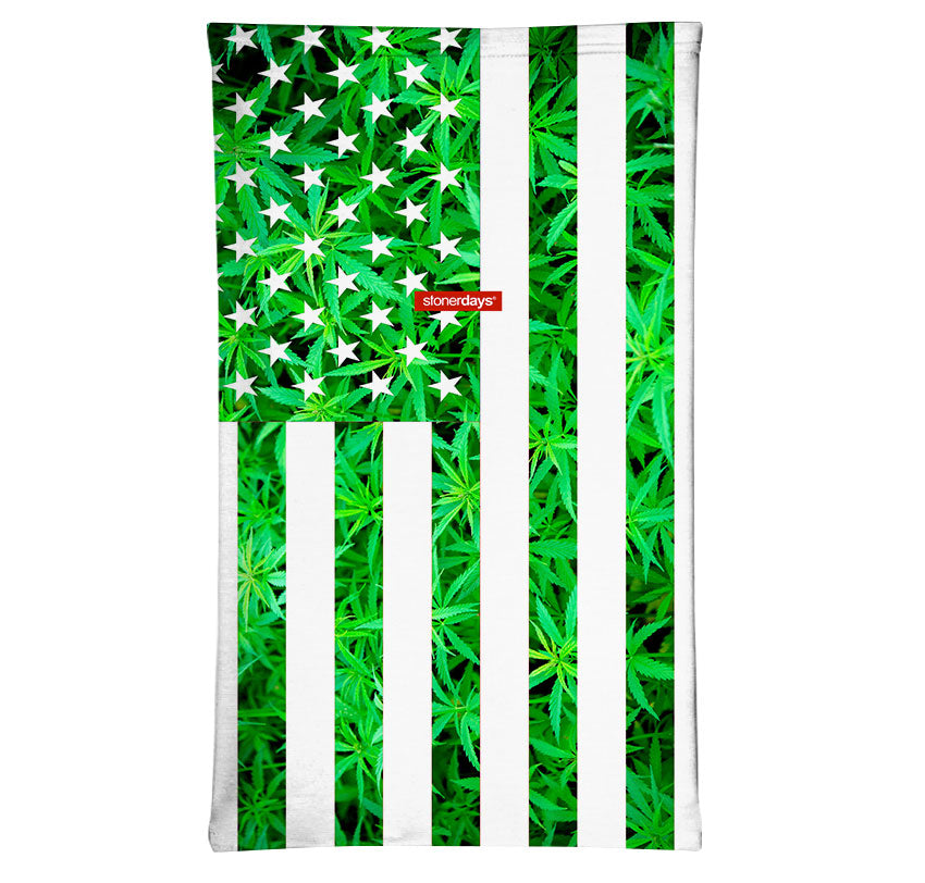 USA Cannabis Flag in Green Neck Gaiter