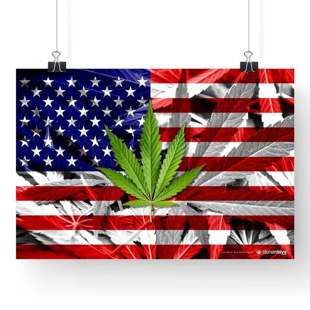 "USA FLAG WEED LEAF POSTER 13"" x 19"""