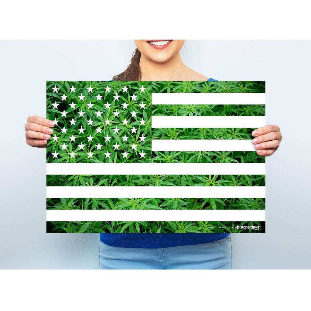 "MARIJUANA POSTER USA FLAG 13""X19"""