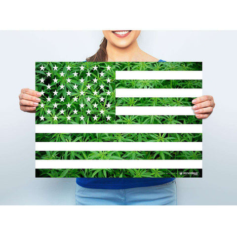 MARIJUANA POSTER USA FLAG 13