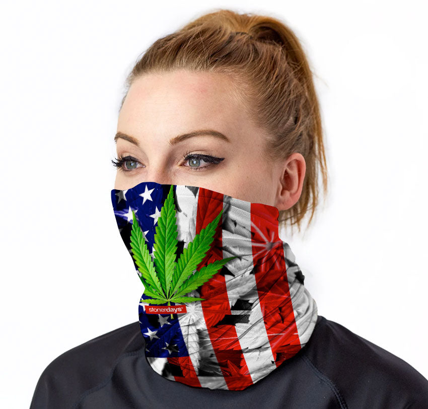 USA Flag Red White Blue With Leaf Neck Gaiter