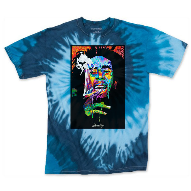 Men's Blue Bob Pop Art Tie Dye Tee