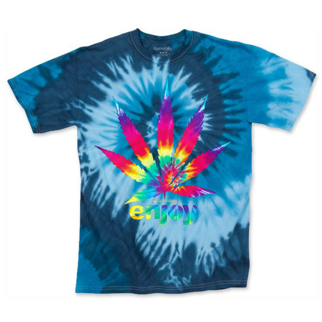 Men's Blue Enjoy Leaf Tie Dye Tee