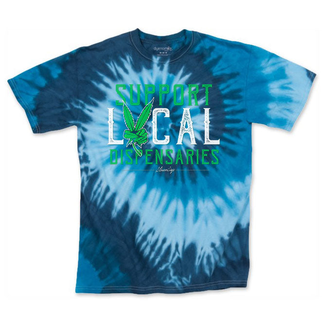 Men's Blue Support Local Dispensaries Tie Dye Tee