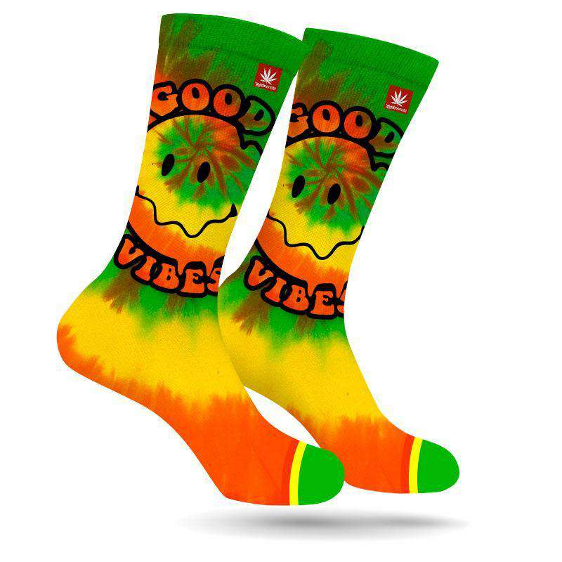GOOD VIBES HAPPY FACE WEED MARIJUANA STONER SOCKS