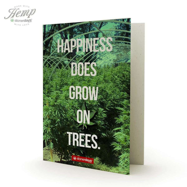 HAPPINESS DOES GROW ON TREES HEMP GREETING CARD-StonerDays