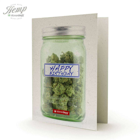 HAPPY BIRTHDAY MASON JAR HEMP GREETING CARD
