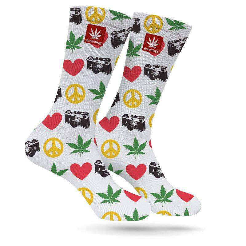 PEACE LOVE WEED PHOTOGRAPY CREW SOCKS-StonerDays