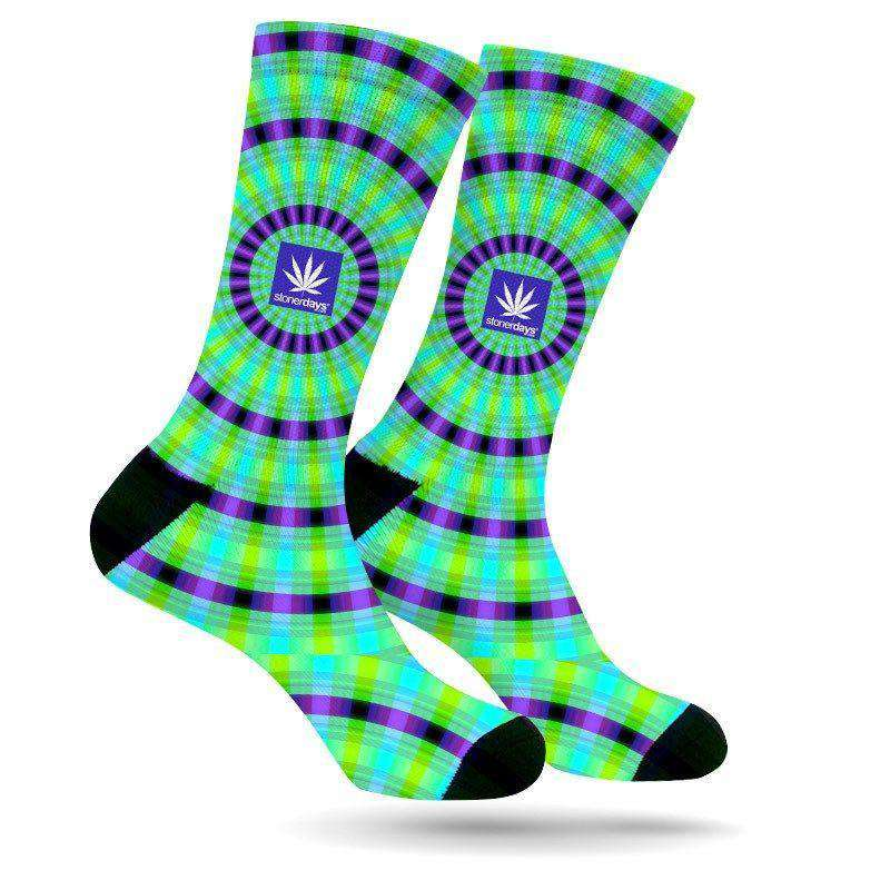 PURP AND GREEN TRIPPY WEED SOCKS (UV REACTIVE)