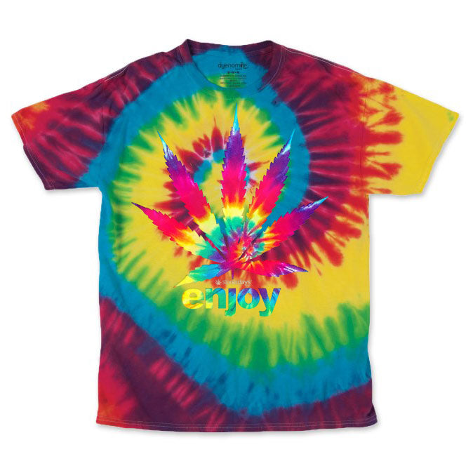 Men's Rainbow Enjoy Leaf Tie Dye Tee