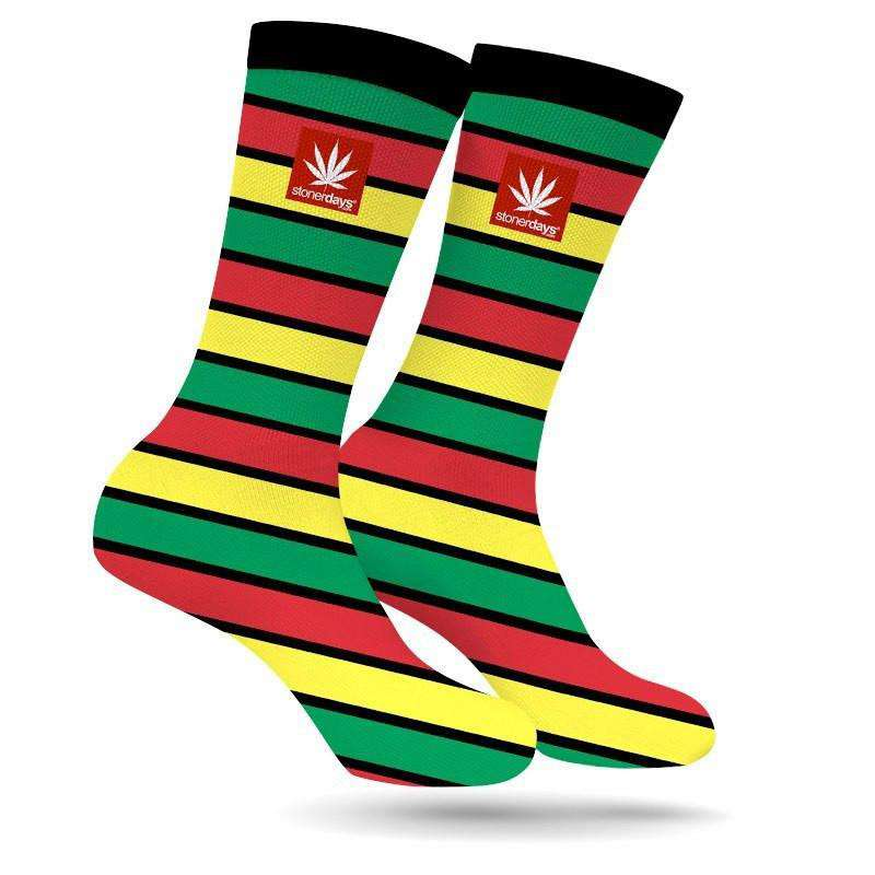 RASTA STRIPE WEED SOCKS-StonerDays