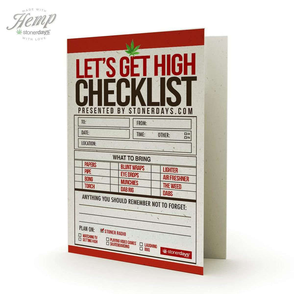 STONER CHECKLIST HEMP GREETING CARD-StonerDays