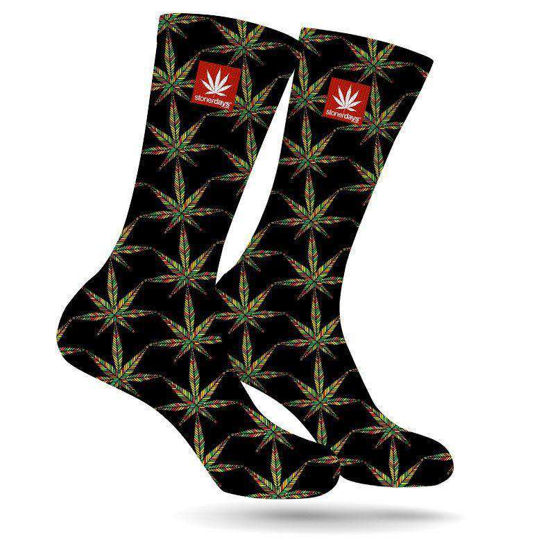 SYMETRICAL RASTA LEAF CREW SOCKS