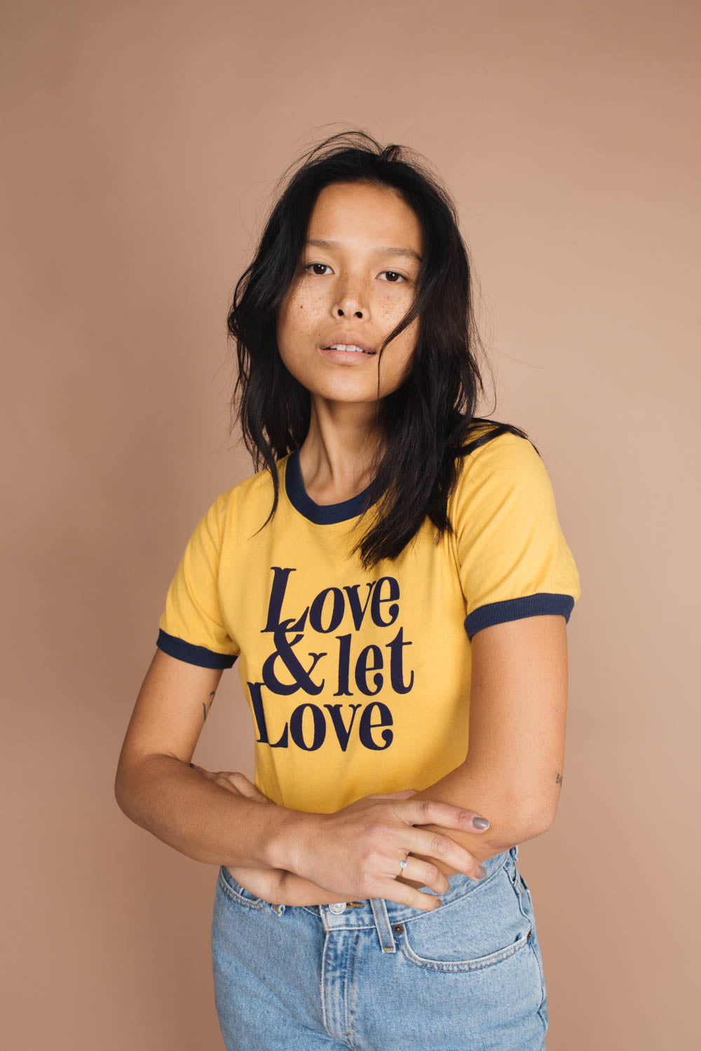 Love & Let Love | Fitted Ringer | Mustard w/ Navy Trim