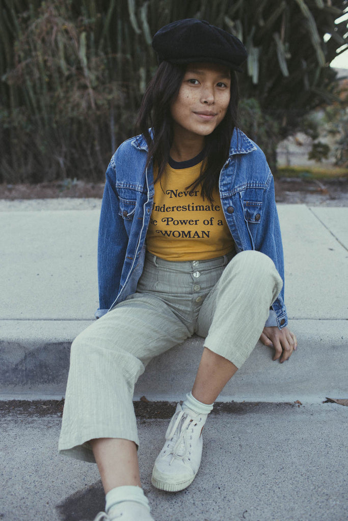 Never Underestimate the Power of a Woman | Fitted Ringer | Mustard w/ Navy Trim