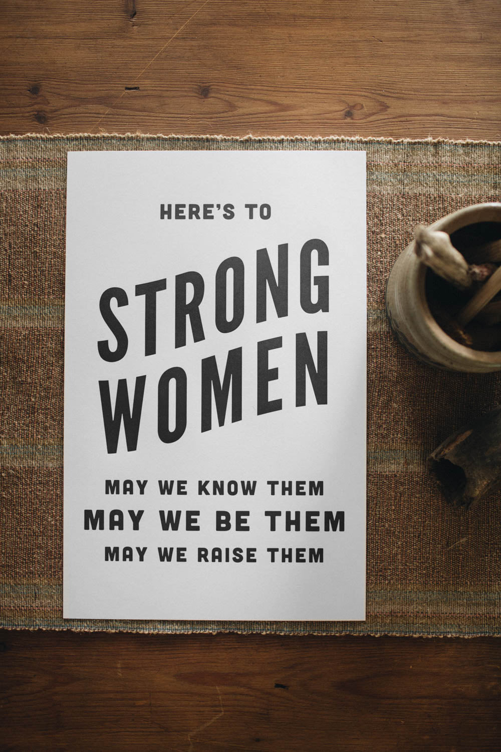 Letterpress: Here's to Strong Women (black)