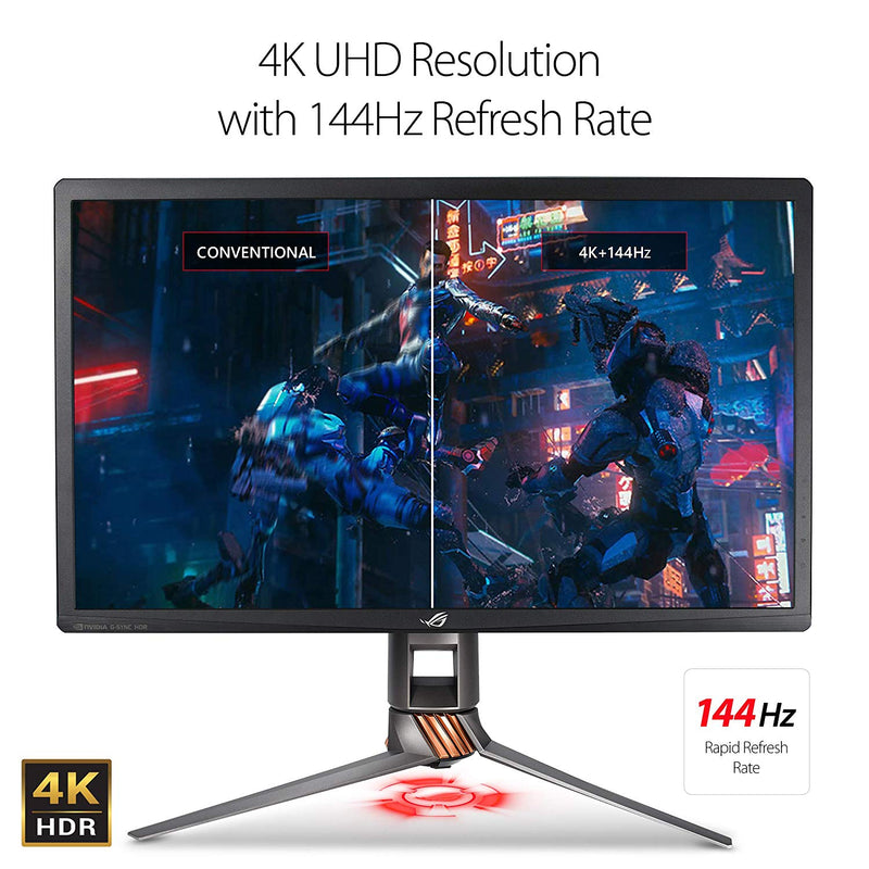 "Asus ROG Swift PG27UQ Gaming Monitor – 27"" 4K UHD (3840 x 2160), Overclockable 144Hz, G-SYNC HDR, Quantum-dot, IPS, Aura Sync (Certified Refurbished)"