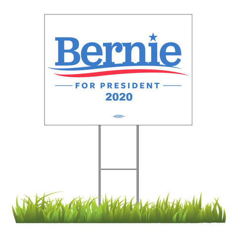 "Bernie Sanders For President 2020 White Yard Sign 24"" x 18"""