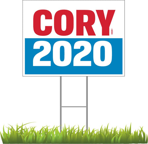 "Cory Booker For President 2020 White Yard Sign 24"" x 18"""