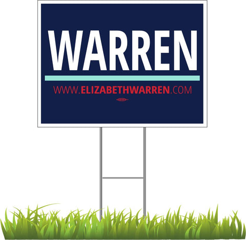 "Elizabeth Warren For President 2020 Blue Yard Sign 24"" x 18"""