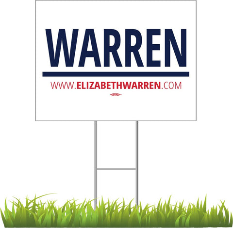 "Elizabeth Warren For President 2020 White Yard Sign 24"" x 18"""