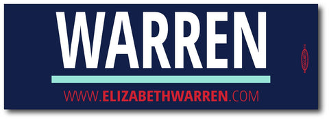 Elizabeth Warren For President 2020 Blue Magnetic Bumper Sticker