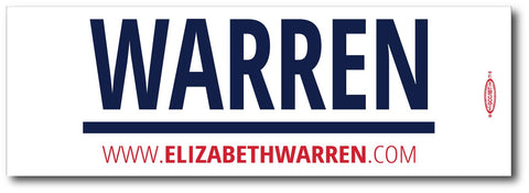 Elizabeth Warren For President 2020 White Magnetic Bumper Sticker