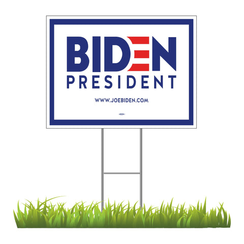 "Joe Biden For President 2020 White Yard Sign 24"" x 18"""
