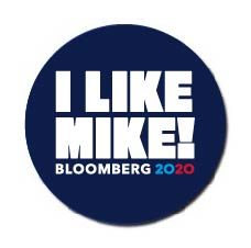 Michael Bloomberg for President 2020 Blue Campaign Button 5-Pack