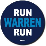 Run Warren Run Blue Campaign Button