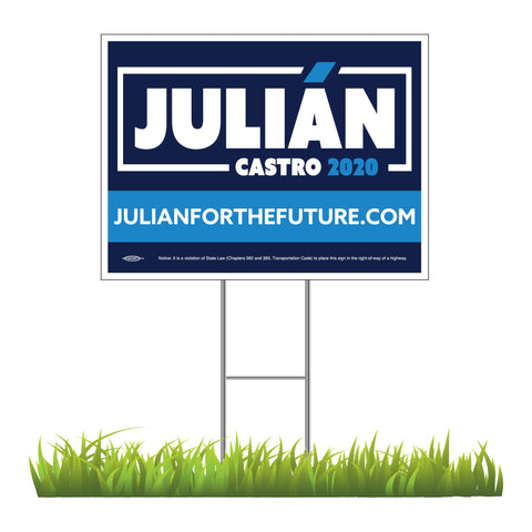 "Julián Castro For President 2020 Yard Sign 24"" x 18"""